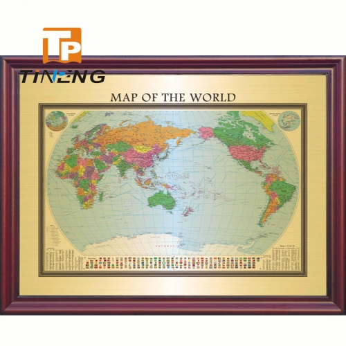 Big size brass world map for decoration